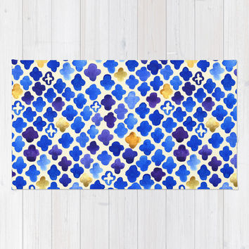 Rustic Watercolor Moroccan in Royal Blue & Gold Rug by Tangerine-Tane