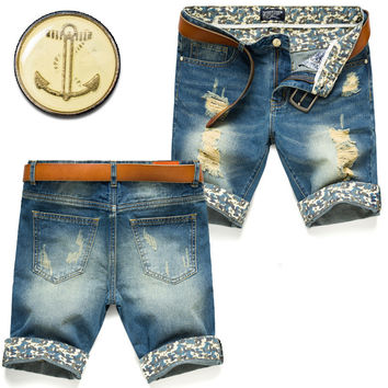 Summer Shorts Pants Slim Korean Men Fashion Jeans [6528424835]