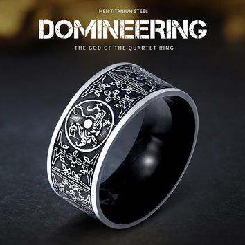 Northern Europe Viking Stainless Steel Dragon Mens Ring Retro Gothic Chinese Style