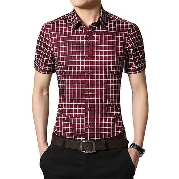 Summer Men Cotton Dress Shirts Short Sleeve Plaid Pattern Formal Shirt Male