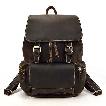 Vintage Crazy Horse Leather Backpack Thick Genuine Cow Leather Women School Rucksack Laptop Travel Backpack