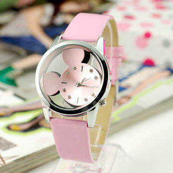 "Quartz Fashion ""Mickey Mouse"" Children Stylish Black Hot Sale Watch = 5861579393"