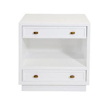 Worlds Away Warren Walnut White 2 Drawer Nightstand