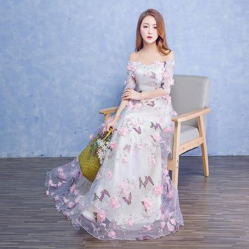 fairy flowers butterfly long dress Renaissance Gown