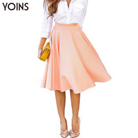 YOINS New Fashion Women Solid High Waist Pleated A-line Midi Skirt Lady Vintage Office Casual Ball Gown Skater