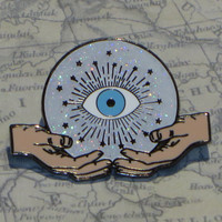 Eye Can See Your Future Hard Enamel Pin Crystal Ball with Evil Eye