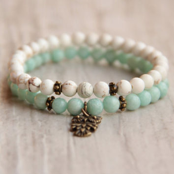 Beaded bracelet set Turquoise mint bracelet Double owl bracelet Small bracelet Gift for girl Gemstone Bracelet stretch bracelet Boho Chic