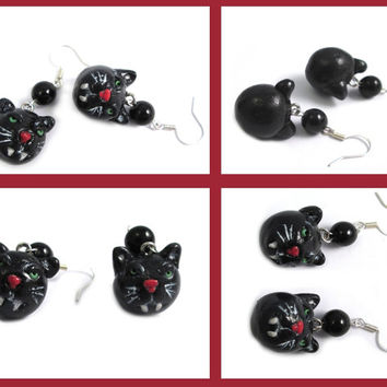 Black cat earrings - Pastel goth Vampire cat  gothic cat creepy cute evil cat - gothic lolita halloween cat - psychobilly black cat jewelry