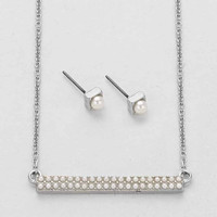 Pearl Bar Necklace Set Silver