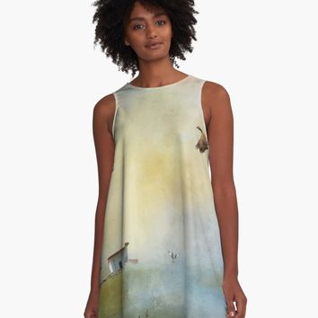 'Lighthouse Bay ' A-Line Dress by Theresa Campbell