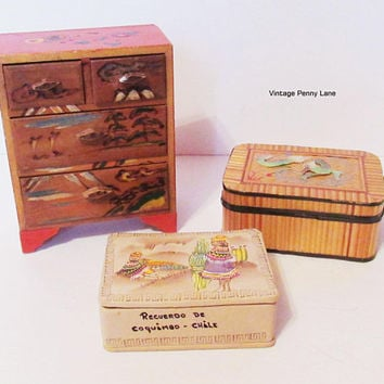 Vintage Trinket Box Lot, Chest of Drawers, Leather Souvenir, Asian Bamboo / Mother of Pearl Dragon