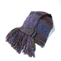 Purple And Burugundy Knit Scarf Women Accessories Scarves Handmade