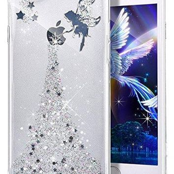 PHEZEN iPhone 8 Plus Case,iPhone 7 Plus Bling Glitter TPU Case, Fairy Angel Girl Pattern Shiny Glitter Flexible Soft Rubber Gel Clear TPU Silicone Back Case for iPhone 8 Plus/iPhone 7 Plus (Silver)