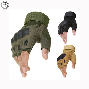 Fingerless Gloves Men Outdoor Sports durable mittens Half Finger Army Military Tactical Gloves Gym Training Weight Lifting