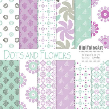 "Floral digital paper ""Dots and Flowers"" flower digital clip art papers in blue, purple, patterns, download, floral background"