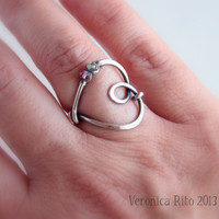 I'm in Love - sterling silver wire handmade ring, with green and pink AAA tourmaline gemstone - mother's day, valentine