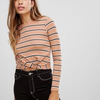 New Look Stripe Rib Twist Front Top at asos.com