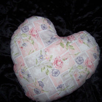 Heart shaped breast cancer pillow, Lavender, Pink Flowers helps provide comfort to cancer patients