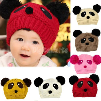 2014 Baby Winter Hat Toddler Girls/Boys Knitting Cap Cartoon Loverly Panda Crochet Beanies Hat Wool Knitted Hat  8189 = 1712875204