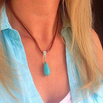 Turquoise necklace, turquoise pendant, suede necklace, brown suede, bohemian necklace, boho leather, strand, bib, statement