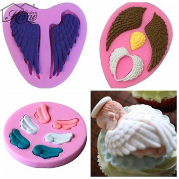 Angel Wings Silicone Mold Cake Decorating Tools Wedding Decoration Chocolate Fondant Sugar Craft Kitchen Baking DIY Cupcake