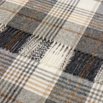 Naturally Bronte Shetland Quality Pure New Wool Charcoal Huntingtower Throw Blanket