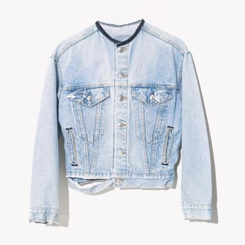 RWDZ Custom Leather & Denim Ripped Pale Jacket
