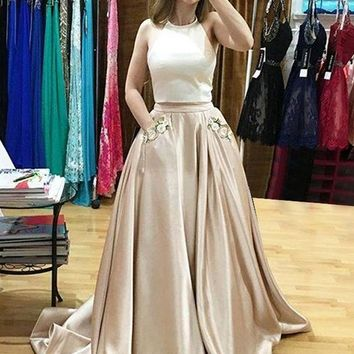 Two Piece Champagne Prom Dress, Evening Gowns Formal Dress With Pockets