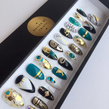 Egyptian Inspired Press On Nails | Any Shape | Swarovski Crystals | Hand Painted Nail Art | Fake Nails | False Nails | White Black Teal Gold