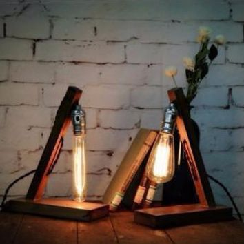 Antique Edison Table Lamp In Wood