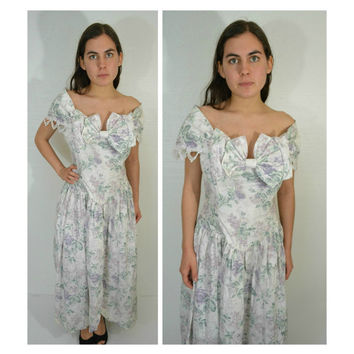 Scott McClintock Jessica McClintock Gunne Sax Women's Floral Off Shoulder Dress Size 10