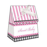 Sweet Baby Feet Pink Plastic Favor Bags Diecut with Ribbon/Case of 72