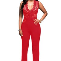 Red Nude Lace Accent Jumpsuit
