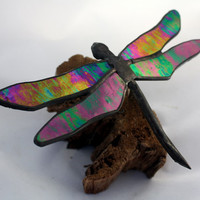 Dragonfly Stained Glass Sculpture on Wood Base