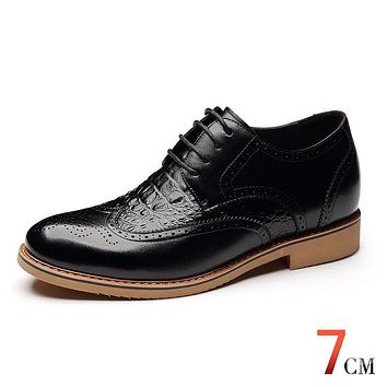 X8865 Men's Height Increasing Elevator Calf Leather Brogue Oxfords Wedding Shoes in Hidden Insole Grow Taller 7cm More Colors