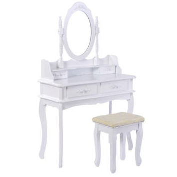 Goplus White Vanity Jewelry Makeup Dressing Table Set W/Stool 4 Drawer Mirror Wood Desk