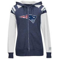 New England Patriots Women's Deep Post IV Full Zip Fleece Hoodie – Navy Blue