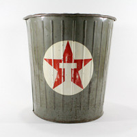 Vintage Texaco Garbage Can / Vintage Gas Station / Industrial Dan-Dee
