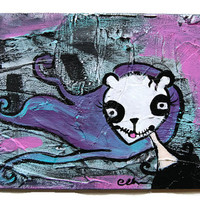 Panda face, today I'm a bear, original textured canvas board painting, creepy / gothic / quirky artwork