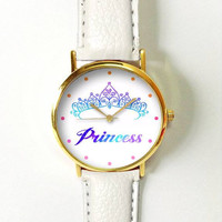 Princess Crown Watch, Women Watches, Boyfriend Watch, Ladies Watch, Leather Watch, Daughter Sister Girlfriend Gift, Unique Watches