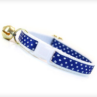 "Cat Collar - ""Audrey"" - Navy Blue & Dainty White Polka Dots"