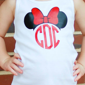 Girls Monogram Minnie Disney Tank Top Shirt Size 2T through size 12