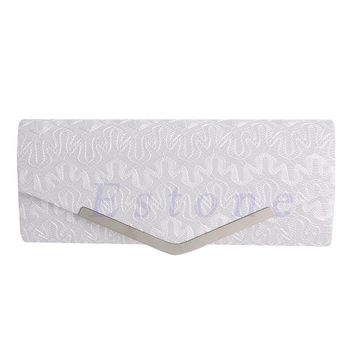 New Hot 4 Colors Ladies Womens Lace Floral Stain Evening Clutch Bag Wedding Party Bridal Handbag Purse W1696
