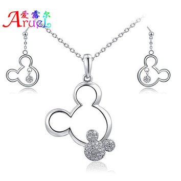 jewelry sets Gift Mickey Pendant Necklace Drop Earrings Austrian Crystal Fashion
