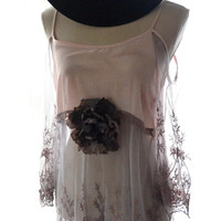 Lace top, Romantic shabby cottage chic, boho clothing, Bohemian gypsy tunic tank top, cut out shoulder, urban chic , true rebel clothing