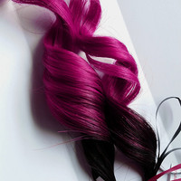 2x Fuschia Rose #1B Black 100% human hair Pink Clip In extensions Straight Human Hair Extensions
