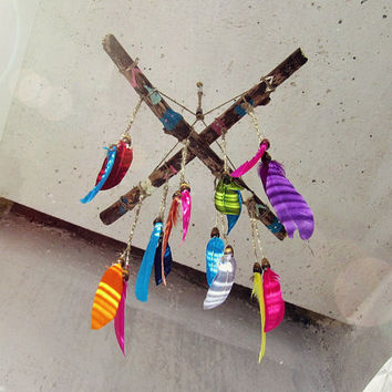 Aztec Inspired Feathers Mobile  -  Driftwood Baby Crib Mobile - Boho Nursery Decor - Hippie Festive Decor -  Dreamcatcher Mobile - In Stock