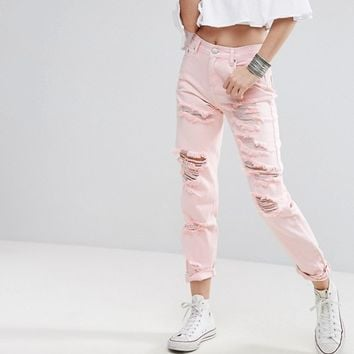 Glamorous Ripped Mom Jeans In Acid Wash at asos.com