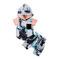 2Pcs Toddler Infant Baby Boy Hoodie Tops Pants Outfits Clothes Sets Summer