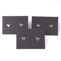 Tiny Lopsided Heart Stud Earrings in Silver, Brass or Copper with Sterling Silver Posts